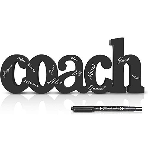 Coach Wood Word with Pen, Personalized Coach Gift Wood Words, Ready to Autograph Coaches Gifts, Shelf Desk Décor for Baseball Soccer Basketball Volleyball Hockey, Best Customizable Cheer Signs
