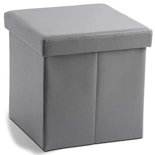 Zedelmaier Sitzhocker Sitzwürfel mit Stauraum Fußbank Truhen Aufbewahrungsbox faltbar belastbar bis 300 kg, Deckel abnehmbar, 38 x 38 x 38 cm (Grau)