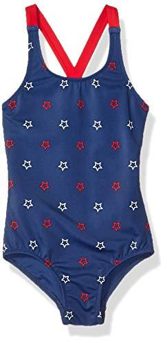 Amazon Essentials Big Girl's One-Piece Swimsuit, Blue Stars, Medium