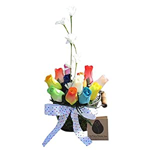Assorted Colors Wire Basket Wooden Rose Arrangement. Variety of Assorted Wooden Rose Colors in a Festive Arrangement Happy Holidays Floral Décor Bouquet for Your Home or Office.
