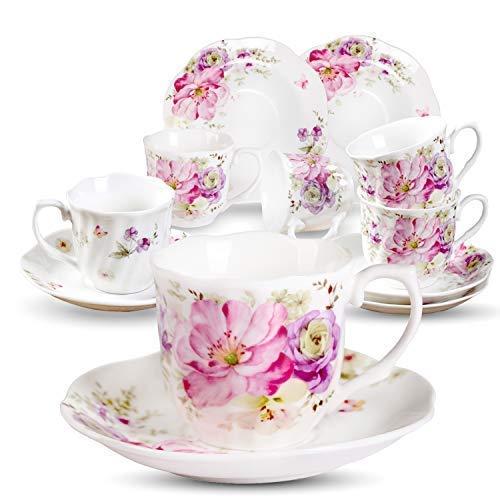 Servizio Espresso Tazzine Caffe Particolari - 80 ml Porcellana Tazze Bella Decalcomania Vintage Fiori Set 6 Tazze Da Caffe 12 Unità