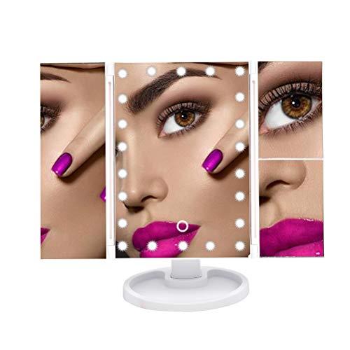 CJMM Kosmetikspiegel 3 Seiten LED-Schminkspiegel mit Vergrößerungsspiegel 22 Stück LED-Leuchten Schminkspiegel mit 90°/180° Drehung (Weiß)
