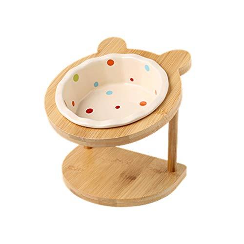 Pet bowl Katze und Hund Schüssel Keramik Regal einzige Schüssel Esstisch for Katzen- und Hundegeschirr mit zervikalem Schutz (Color : White)