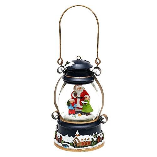 Dekohelden24 Weihnachtliche Laterne mit Schneewirbel, Licht + Sound, Maße H/B/Ø Kugel: ca. 19 x 13 cm/Ø 10 cm.