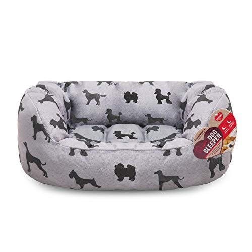 Rosewood Großes Hundebett für große Hunde, maschinenwaschbar, super weiches und gemütliches Trüffelbett mit luxuriösem Plüsch, Trüffel und Creme, 80 x 62 x 23 cm