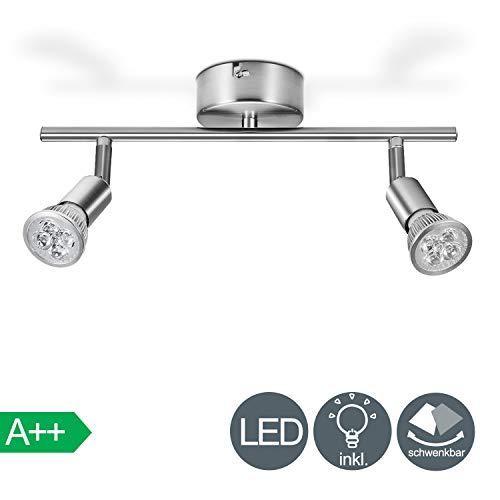 VINGO Deckenleuchte LED Deckenstrahler 2 Flammig Schwenkbar Deckenlampe Inkl. 2 x 4W GU10 LED Leuchtmittel Warmweiß Deckenspot