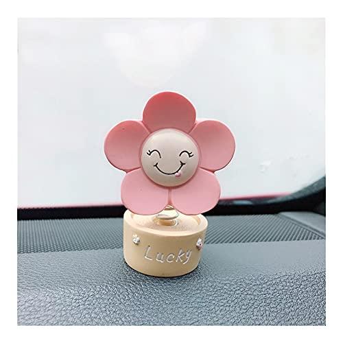 XIUHUA Cabeza Sacudida Cabeza Sunflower Decoración Cute Sun Flowers Shake Head Ornament Coche Accesorios Interior Accesorios Tablero de Regalo Colección Juguete (Color Name : Pink Lucky)