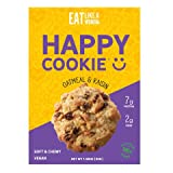Eat Like A Woman Vegan Happy Cookies - Plant Based Protein Cookies | Gluten-Free, Kosher, Soft & Chewy, No Eggs, Soy, Sugar, Alcohols, Trans Fat, or Cholesterol, Oatmeal Raisin, 12 Pack by