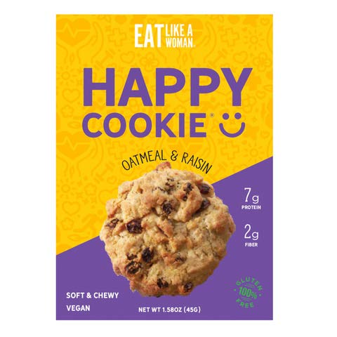 Eat Like A Woman Vegan Happy Cookies - Plant Based Protein Cookies | Gluten-Free, Kosher, Soft & Chewy, No Eggs, Soy, Sugar, Alcohols, Trans Fat, or Cholesterol, Oatmeal Raisin, 12 Pack