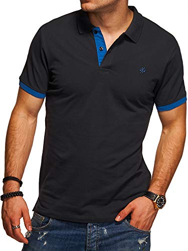 JACK & JONES Herren Poloshirt Polohemd Kurzarmshirt (L, Tap Shoe/Classic Blue)