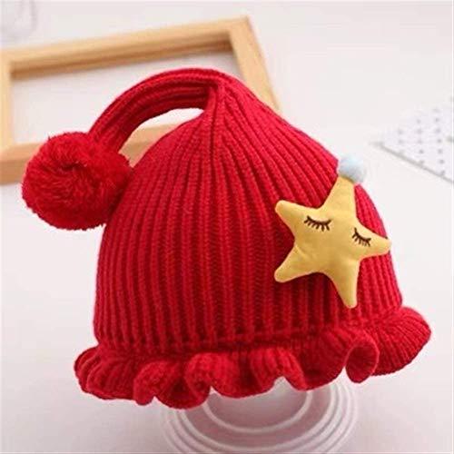 Miwaimao - Gorro de lana para niños, diseño de ojos grandes, color rojo, 30 – 36 cm