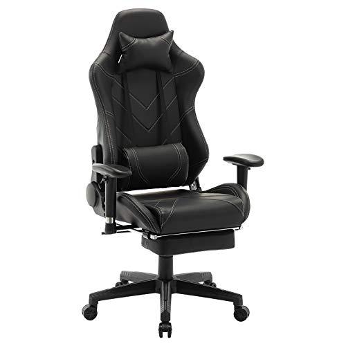 WOLTU® Racing Stuhl BS20sz Gaming Stuhl Bürostuhl Schreibtischstuhl Sportsitz mit Kopfstütze und Lendenkissen, Armlehne verstellbar, mit Fußstütze, Kunstleder, höhenverstellbar, Schwarz