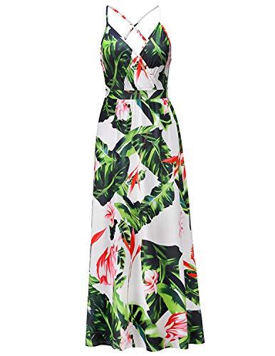 BUOYDM Vestido Mujer Casual Largo Sexy Vestido Boho Floral Maxi con Cuello en V de Playa Verano Vestido