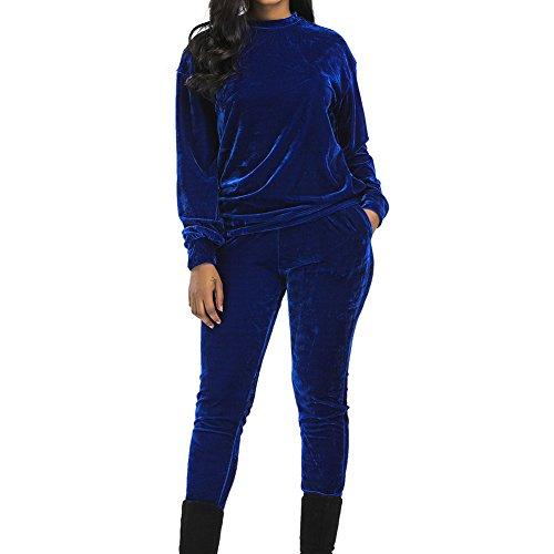 Frauen Trainingsanzug 2 Stück - Mode Velour Langarm-Sweatshirt und Lange Winterhosen Herbst warm Trainingsanzug Joggen Sporttraining lässige Sportswear