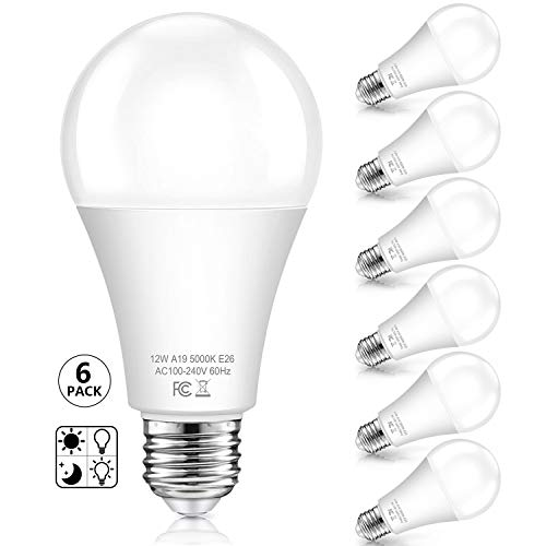 Dusk to Dawn Light Bulbs Outdoor 100 Watt Equivalent, 12W A19 LED Outdoor Lighting, Auto On/Off Light Sensor Bulb 5000K Daylight for Porch Garage Yard Security, E26 Base, 6-Pack(Not Motion Activated)