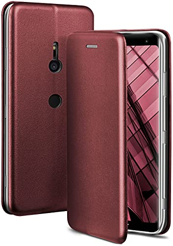 ONEFLOW Handyhülle kompatibel mit Sony Xperia XZ3 - Hülle klappbar, Handytasche mit Kartenfach, Flip Hülle Call Funktion, Leder Optik Klapphülle mit Silikon Bumper, Weinrot