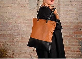 Borsa in pelle marrone e nera, shopping bag, borsa grande in pelle, borsa in pelle, borsa