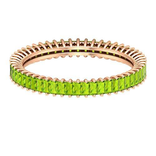 Rosec Jewels 14 quilates oro rosa baguette Green Peridoto creado en laboratorio
