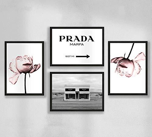 Decoración de pared - Juego de póster de pared para sala de estar premium, tamaño A4, sin marco, Prada Marfa, peonía