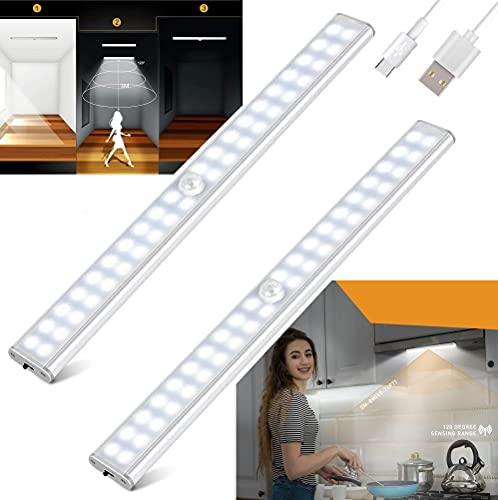 STEELMATES 2 x 40 LED, luz LED para debajo del armario, luz LED con sensor de movimiento recargable por USB, luz nocturna para niños, tira LED adhesiva para cocina, baño, dormitorio