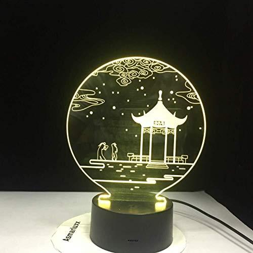 QB Nachtlamp, 3D illusie cartoon, Oude Paviljoen 3D LED Lamp 7 Kleur s Veranderende Bureau Lamp Nieuwigheid LED Nachtlampen Paviljoen Kabinet Raad
