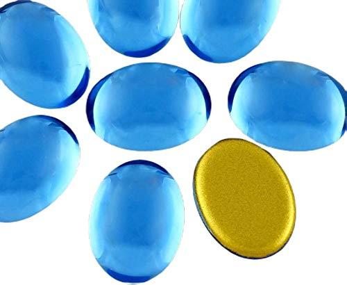 4pcs de Luz de Cristal de Zafiro Azul Ovalado con Cúpula de las planas de Cristal checo Cabujones de 18mm x 13