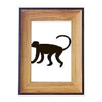 黒猿動物の描写 フォトフレーム、デスクトップ、木製