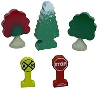 Seasonal Deluxe Tree / Sign Accessory Pack - Thomas & Friends Wooden Railway Tank Train Engine - Brand New LooseDelux