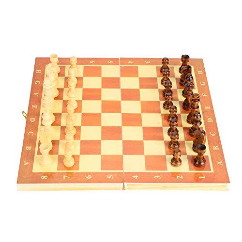 Alomejor Tragbares holzernes Schachbrett-faltendes Brett-Schachspiel fur Partei-Familienaktivitaeten