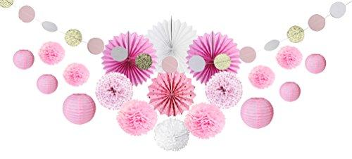SUNBEAUTY Decoration Mariage Rose et Blanc Pompon Papier de Soie Rosace Lanterne Chinoise Lampion Boule Salon Bapteme Baby Shower Chambre Fille Anniversiare Deco Kit