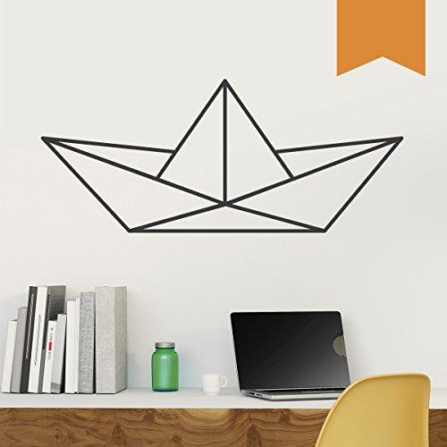 WANDKINGS Wandtattoo - Origami-Style Papierboot - 110 x 46 cm - Hellbraun - Wähle aus 5 Größen & 35 Farben