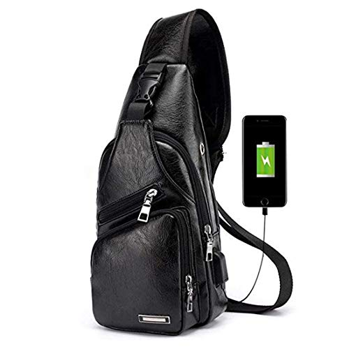 Men's Leather Sling Bag Multipurpose Daypack Shoulder Chest Crossbody Bag Black