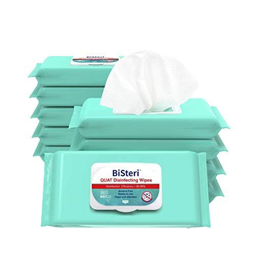 BiSteri Quat – Pack de 12 paquetes de 80 toallitas desinfectantes y antibacterianas de alta eficiencia – Norma EN 14476 Eficaz contra las partículas virales infecciosas (960 toallitas en total)