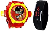 Pappi-Haunt - QUALITY ASSURED - Kids Special Toys - Pack of 2 - Angry Bird Projector Band Watch + Jelly Slim Black Digital Led Band Watch for Kids, Children