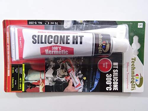 Technicqll Mastic adhésif silicone haute température Rouge 70ml Résistant à la chaleur jusqu