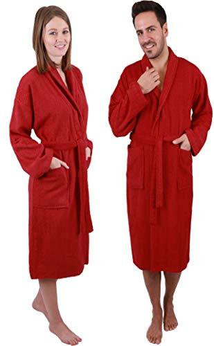 Betz Peignoir d'intérieur à col châle Madrid 100% Coton Taille S à XXL Taille XL - Rouge