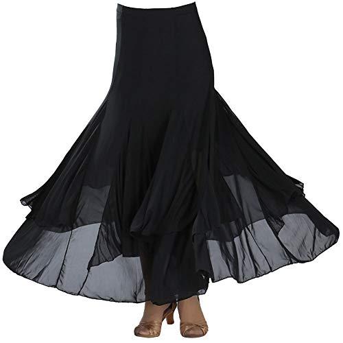 Guiran Mujer Largo Faldas De Baile De Vals Salon Latino Tango Maxi Plisada Vestidos Práctica De La Danza Ropa Negro Un tamaño