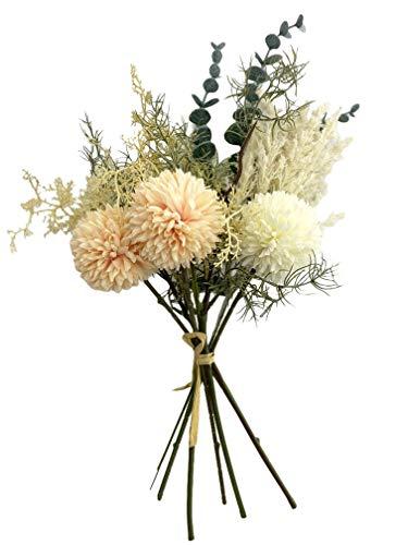 Wiesenblumen-Strauß künstlich - 8 teilig - Premium Qualität, Tisch-Dekoration (cremeweiß/apricot)