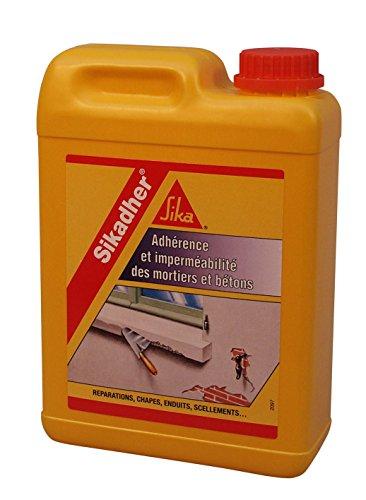 Sikadher, Additif d'adhérence et d'imperméabilité pour mortiers et bétons, 2L, Blanc