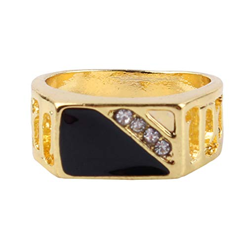 Toporchid Square Big Width Signet Rings Vintage Alloy Crystal Men Finger Ring Male Ring Wedding Party Jewelry(gold color size 9)