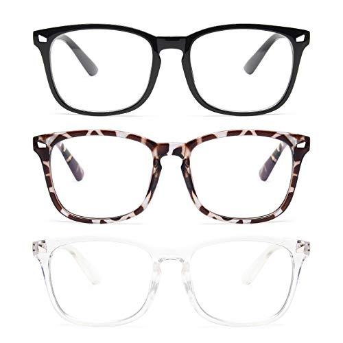 Livhò 3 Pz Occhiali Anti Luce Blu Donna Montatura Occhiali da Vista Uomo Riposanti per PC per Schermo Computer Gaming UV400 (Nero + Trasparente + Leopardo)
