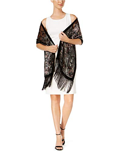 Price comparison product image INC International Concepts Womens Birds & Floral Evening Wrap & Scarf In One One Size Black