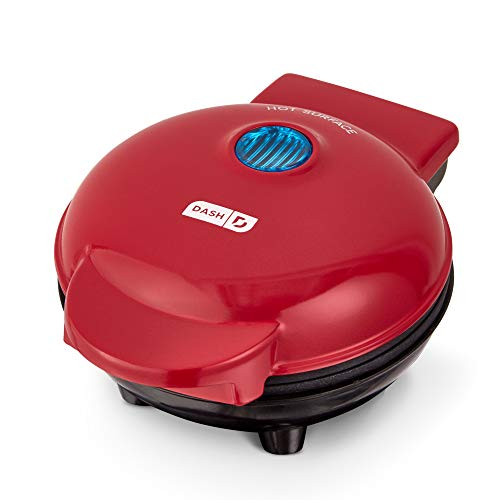 Dash DMS001RD Mini Maker Electric Round Griddle for Individual Pancakes, Cookies, Eggs & other on the go Breakfast, Lunch & Snacks, with Indicator Light + Included Recipe Book, Red