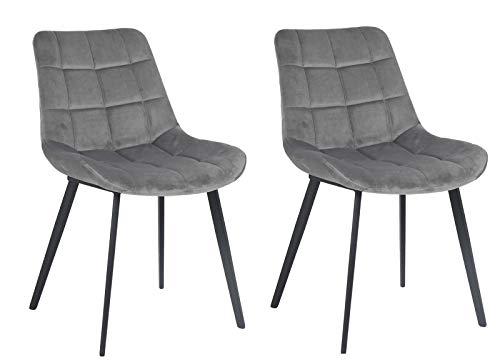 Meubletmoi stoelen, stof, grijs, velours, zacht, gevoerd, comfortabel, voeten van metaal, zwart, modern design, glanzend, 2 stuks