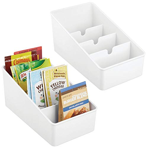 mDesign Plastic Food Packet Organizer Bin Caddy - Storage Station for Kitchen, Pantry, Cabinet, Countertop - Holds Spice Pouches, Dressing Mixes, Hot Chocolate, Tea, Sugar Packets - 2 Pack - White