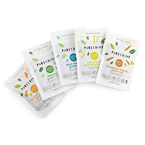 Find Your Matcha 5 x 20g Compostable Pouches - Regular, Mint, Lemongrass, Cinnamon & Turmeric Flavoured Matcha Green Tea Powder by PureChimp - Ceremonial Grade from Japan