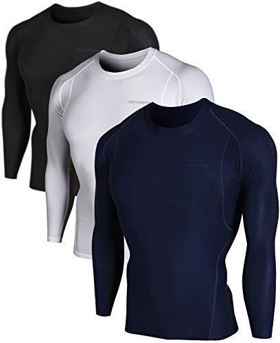 DEVOPS Men's 3 Pack Cool Dry Athletic Compression Long Sleeve Baselayer Workout T-Shirts (Large, Black-Navy-White)