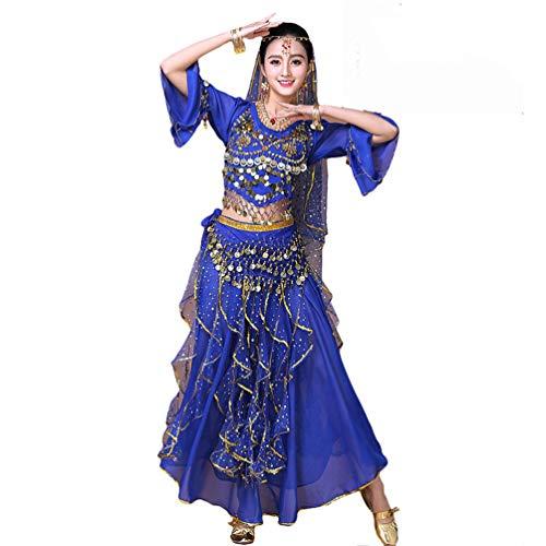 LaoZan Halloween Münze Tanzkostüm-Set Maxirock Damen Indische Bauchtanz Trainingskleidung (See Blau(8Pcs))