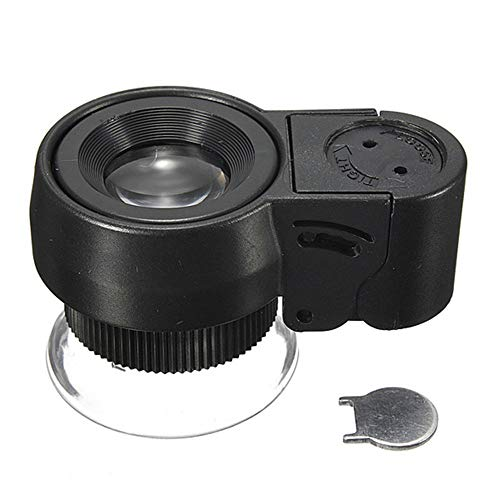 QARYYQ Draagbaar vergrootglas met LED-verlichting vergrootglas draagbare microscoop, zwart 45x loep