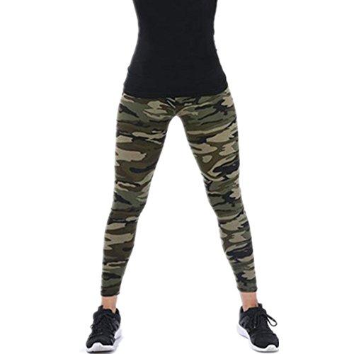 TUDUZ Damen Lang Sport Yoga Leggings Hosen Camouflage Printed Enge Leggings (G)